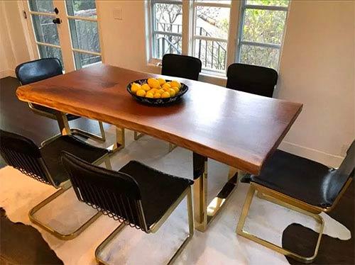 live edge black walnut single slab table