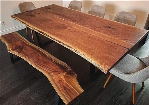 live edge table and bench, black walnut