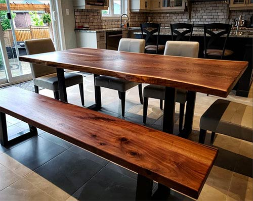 live edge black walnut table and bench